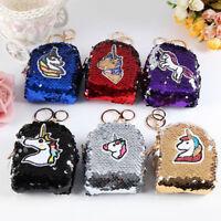 Women's Sequins Unicorn Mini Wallets Card Key Holder Zip Coin Purse Clutch Bags