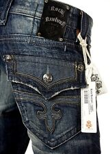 "$220 Mens Rock Revival Jeans ""Leon"" Black Leather Inserts Straight Leg 32 X 33"