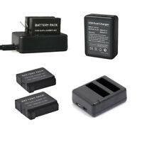 2/1 AHDBT-401 Battery /USB Dual Port Charger For GoPro HD HERO4 Black and Silver