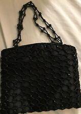 black glass beaded purse