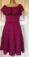Ted Baker London Dilpree Off The Shoulder Knit Skater Dress, Size 0 USA 2 Purple