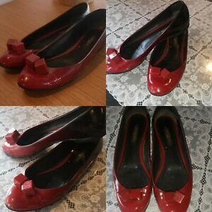 Louis Vuitton Ombre Patent Leather Gossip Cube Ballet LV Red Flat Shoe eu38-US 8