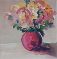 ORIGINAL ART HAND PAINTED COLORFUL FLORAL STILL LIFE ROSES USA BY SUE FURROW