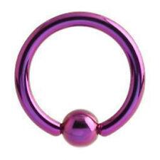 1 Purple Titanium Plated Over Steel CBR Captive Ring Hoop 18g 8mm Ear Nose Lip