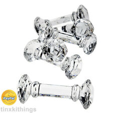 Lead Crystal Knife Rest 6pc Fine Dining Set Table Glass Ware Holder Dumbbell New