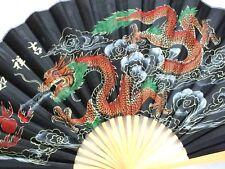 Chino XXL 110cm Negro Dragón Afortunado Colgante De Pared Ventilador Boda Cumpleaños Fiesta A4