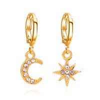 Women Drop Hoop 1 Pair Crystal Huggie Earrings Rhinestone Dangle Star Moon