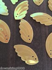 Vintage Sequins Wing / Leaf 30mm Honey Gold Iridecent Rainbow Read Description