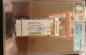 MIKE TROUT SIGNED 100 HOME RUN TICKET STUB 4/17/15 JSA Beckett COA Encapsulated