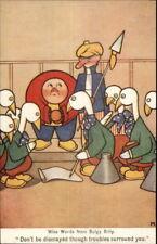 Art Deco Fantasy Bulgy Billy Little Fat Men & Goose People in Clothes Postcard