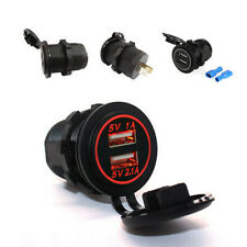 12V-24V Dual USB Car Red LED Angel Eye Ring Charging Socket Power Adapter Outlet