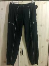 LAMB Gwen Stefani 100% Silk Silver Zippers Jogger Pants sz 2 made in Canada
