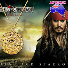 Pirates of the Caribbean Jack Sparrow Aztec Coin Pendant Necklace Gold