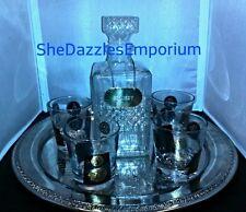 Bar lot! Luminarc decanter 4 Cera glasses & silver plated tray