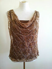 Teena Varigos size 12 brown mesh sequin sleeveless top with silk lining