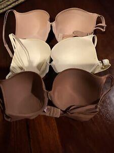 Victoria's Secret 34DD Lot of 3 Bras Ivory, Brown,Nude