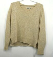 Lush Womens Cream Long Sleeve V Neck Sweater Pullover Side Slits Casual M