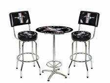 "Ford Mustang Running Horse 27"" Round Cafe Table + 2 Bar Stools - Chrome & Black"