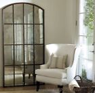 """Xl Antiqued Windowpane Arch Mirror Leaner Wall Floor Hand Forged Oversized 82"""""""