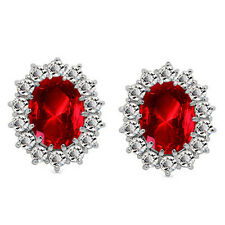 Luxury Silver & Red Zircon Queen Design Stud Earrings E854