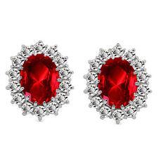 Luxury Silver & Red Zircon Queen Design Stud Earrings E854