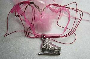 Sparkly Ice skater pendant pink organza necklace winter olympics dancing on ice