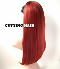 Hot Red 3/4 Hair Piece Layered Straight Long Half Wig Hairpiece 27-350/113