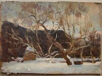 Russian Soviet Oil Painting Landscape realism impressionism winter 1950s y.