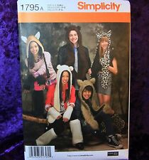 Simplicity 1795 Warmers Plush Animals 3 Hat Sewing Pattern Teen Fashion CUTE NEW