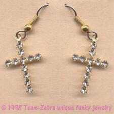 Vintage Rhinestone Crystal CROSS EARRINGS Religious Easter Quinceanera Jewelry