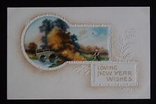 LOVING NEW YEAR WISHES - Vintage Postcard - embossed with photo  Printed Germany
