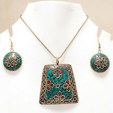 BLUE TURQUOISE & CORAL GEMSTONE GOLD PLATED NEPALI EARRING & PENDANT SET 17-18""
