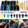 555Pcs Car Trim Clips Plastic Door Bumper Rivets Screws Panel Push Fastener Kit