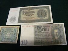 Lot of 3 Germany Banknotes WWII & just after.Third Reich,Allied, & East Germany.