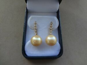ROUND 13.5 MM YELLOW SOUTH SEA PEARL DROP EARRINGS