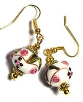 Short Gold Earrings White Pink Glass Bead Pierced Vintage Antique Style Artisan