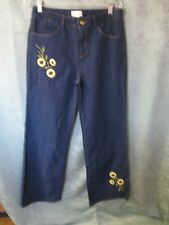 Through The Country Door Size 10 Dark Wash Embroidered Jeans