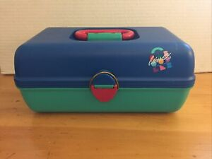 Caboodles Blue Green Pink Hair Makeup Storage Organizer Case Slide Trays Vintage