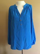 Women's Lily Pulltizer Shirt Blouse Size L Royal Blue