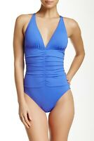La Blanca Women's Swimsuit Size 14 Blue Convertible Cross Back One Piece