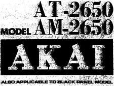 AKAI AM-2650 ST int ampli AT-2650 Tuner service manual Inc SCMS imprimé en anglais