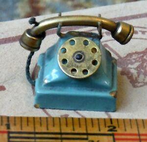Antique Vintage Brass Dollhouse Miniature Green Telephone P469