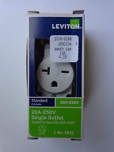Leviton S02-5821-WS White 1-Pole 3-Wire Self Grounding 20 Amp 250 Volt 6-20R