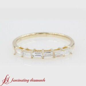 1/2 Carat Straight Baguette Diamond Womens Wedding Band In 14k Yellow Gold