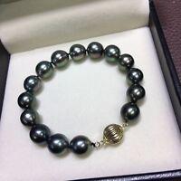"Excellen 10-11mm AAA+ real natural Tahitian black pearl bracelet 14k Gold 7.5-8"""