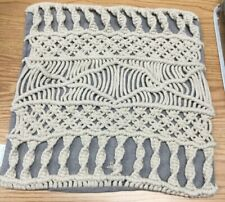 """Macrame Square Throw Pillow Cream And Gray- Cushion Cover- 18""""x18""""-just cover"""