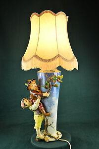 Sehr seltene große glasierte Majolika Jugendstil Tischlampe, um 1900