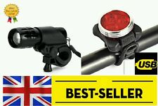 front cree & rear 3 led rechargeable lights set - bike light bright alloy zoom