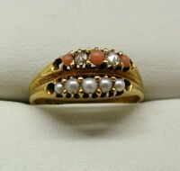1876 Early Victorian Unusual Coral, Diamond And Seed Pearl Double Ring Size O