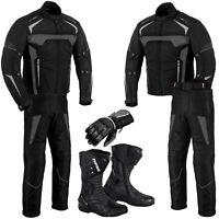 Profirst Motorcycle Racing Suit Waterproof Motorbike Jacket Pant Boot Gloves
